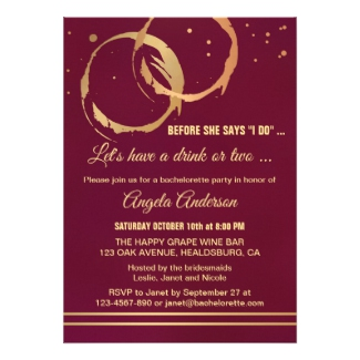 Gold Burgundy Wine Lovers Bachelorette Invitation