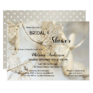 Gold Ivory Fall Leaves Bridal Shower Invitation