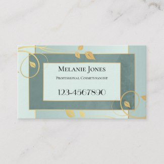 Green Gold Floral Design Appointment Business Card