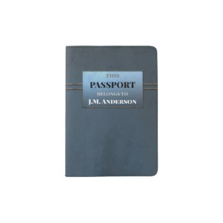 Grey Blue Stylish Grunge Design Passport Holder