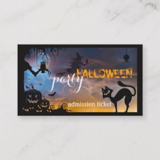 Halloween Costume Party Ticket Business Card