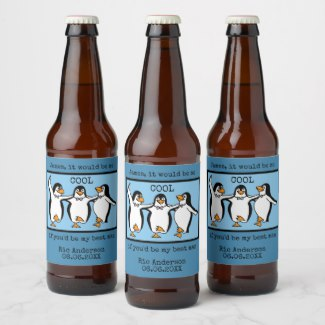 Happy Penguin Dancing Groomsmen Beer Label