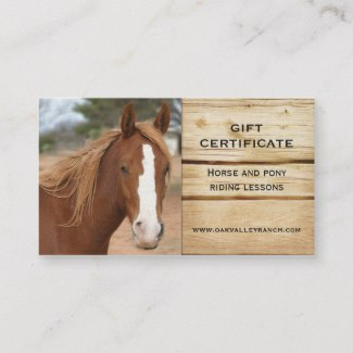 Horse Riding Lessons Gift Certificate Template