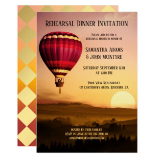 Hot Air Balloon Sunset Rehearsal Dinner Invitation