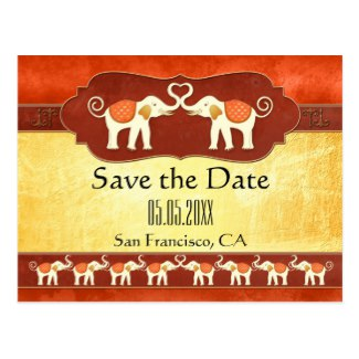 Colorful Indian Wedding Elephants Save the Date Postcard