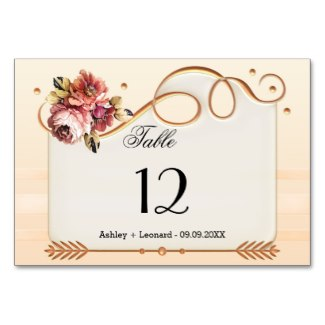 Ivory Rose Gold Floral Wedding Table Number Card