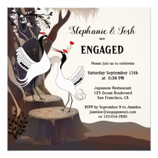 Japanese Cranes Engagement Party Invitation