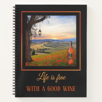 Fine Art Landscape with Wine Personalized Notebook