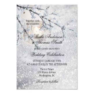 Lantern Sparkling Snow Winter Wedding Invitation