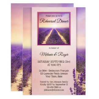 Lavender Country Wedding Rehearsal Dinner Invitation
