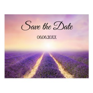 Lavender Country Floral Save the Date Postcard