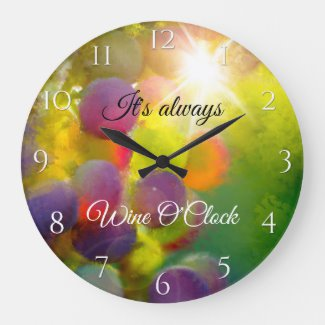 Modern Art Colorful Grapes Wine Lovers Wall Clock