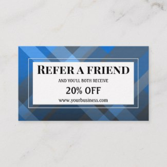 Modern Blue Plaid Referral Business Card