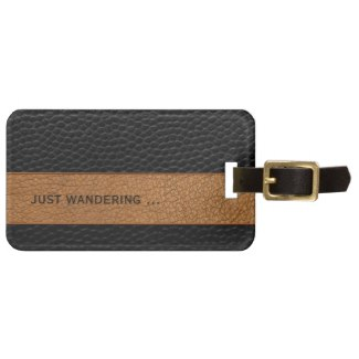Modern Brown Black Faux Leather Luggage Tag