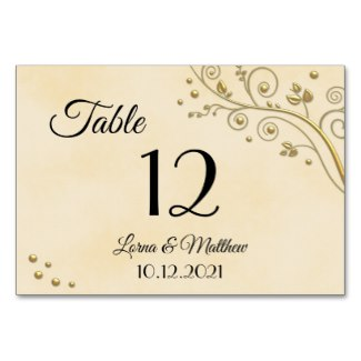 Modern Gold Floral Wedding Table Number Card