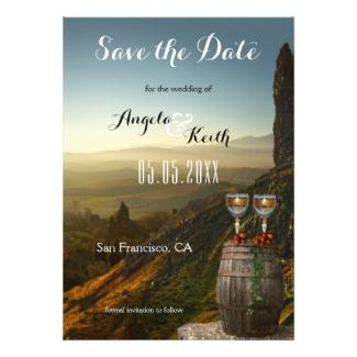 Modern Vineyard Wine Themed Save the Date Card