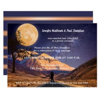 Full Moon Starry Night Mountain Wedding Reception Invite