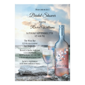 Ocean Beach Wine Bridal Shower Invitation