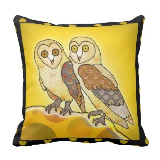 Artistic Ocher Black Owl Design Pillow