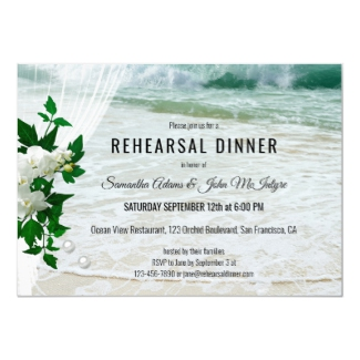 Orchid Lace Beach Wedding Rehearsal Dinner Invitation
