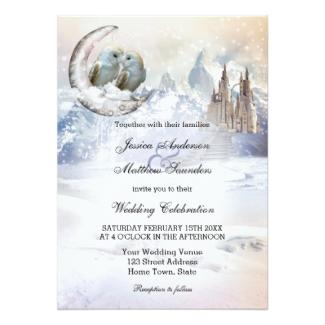 Owls Over the Moon Winter Wedding Invitation
