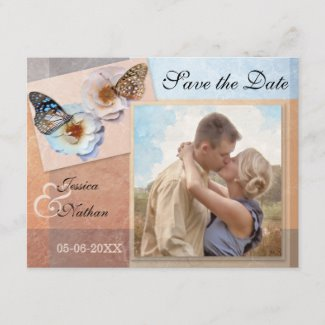 Pastel Butterflies Custom Photo Save the Date Postcard