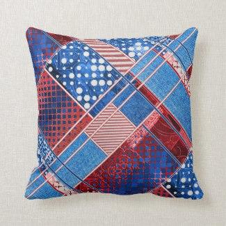 Patchwork Quilt Blue Jeans Pattern Pillow