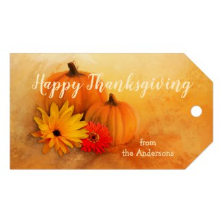 Colorful Pumpkin Floral Thanksgiving or Thank You Gift Tag