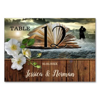 Romantic Book Lovers Literary Table Number Card