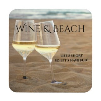 Romantic Wine Themed Beach Coaster