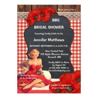 Romantic Vintage BBQ Bridal Shower Invitation