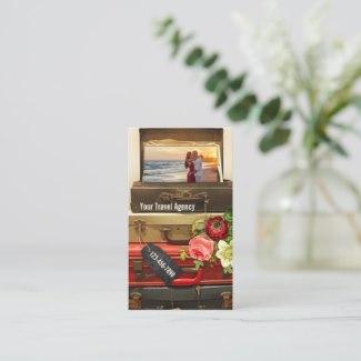 Romantic Vintage Honeymoon Travel Business Card