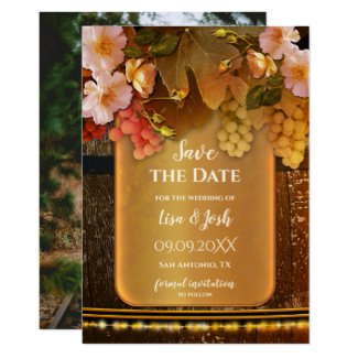 Romantic Classic Wine Theme Your Photo Save the Date Card