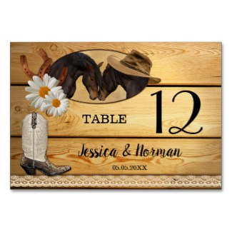 Country and Western Wedding Table Number Card
