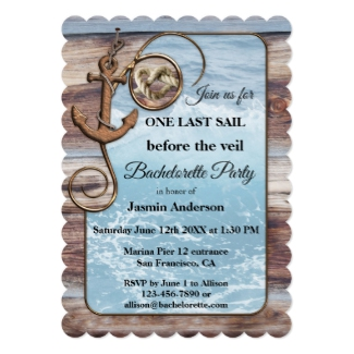 Artistic Wood Nautical Bachelorette Sailing Invitation