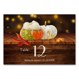 Colorful Pumpkins Autumn Table Number Card