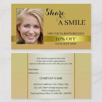 Share a Smile Gold Referral Business Card