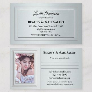 Silver beauty appointment business card
