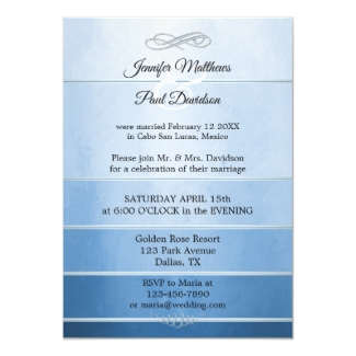Blue Silver Tone on Tone Striped Wedding Reception Invitation