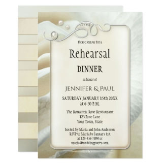Silver Romantic Ivory Rose Wedding Rehearsal Dinner Invitaton