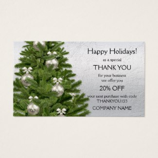 Silver Christmas Tree Holidays Thank You Business Card