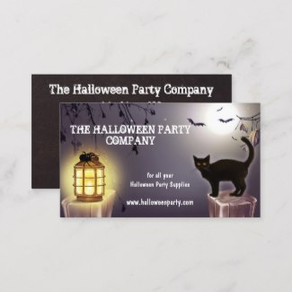 Spooky Cat And Bat Halloween Party Business Card