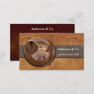 Steampunk Artistic Locksmith Hardware Business Card