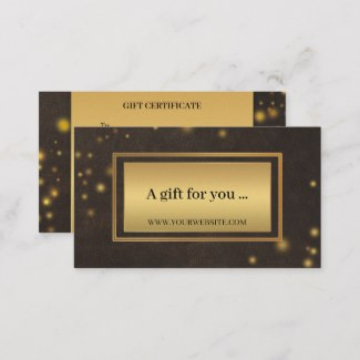 Stylish Faux Leather Gold Gift Certificate Template