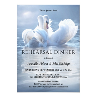 Swan Lake Wedding Rehearsal Dinner Invitation