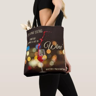 Swirling Wine Sparkling Lights Tote Bag