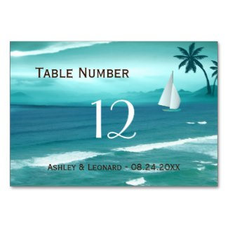 Teal Tropical Beach Sailing Destination Wedding Table Card
