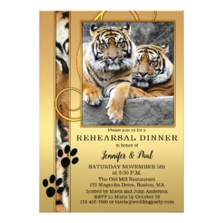 Tiger Safari Zoo Rehearsal Dinner Invitation
