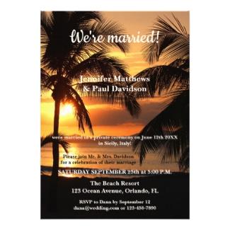 Tropical Beach Sunset Photo Wedding Reception Invitation