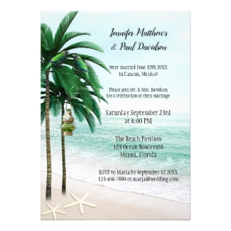 Tropical Beach Palm Trees Wedding Reception Invitation